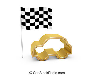 checked flag and car symbol