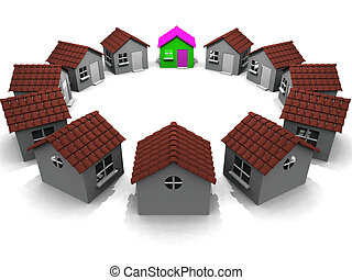 Houses in a circle