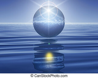 Blue sphere on water with light reflection