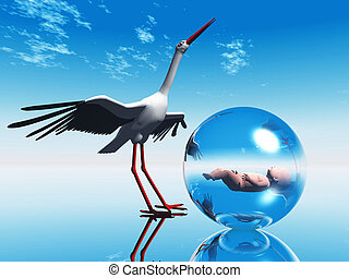 Stork with a baby in a bubble