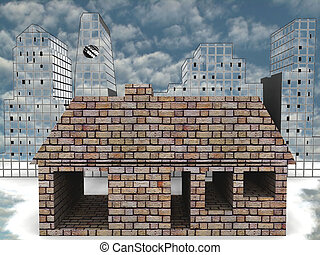 Brick house in front of skyline