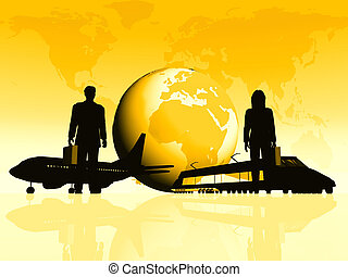 Earth with silhouettes of people and transportation