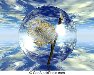 Bubble with a flower in the sky