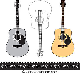 acoustic guitar design set - Acoustic guitar isolated on...