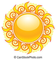 sun icon - shiny sun icon isolated on white