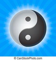 yin yang - shiny yin yang symbol on blue