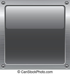 metal button   - shiny gray button on metal surface