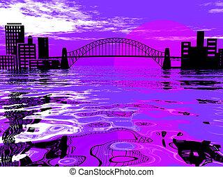 Setting sun behind a city bridge over water