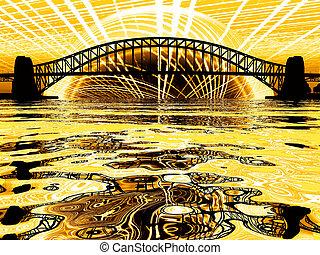Golden sun behind bridge over body of water
