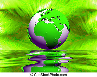 Green and purple earth, green background