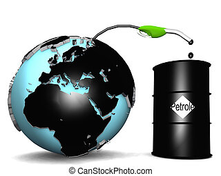Earth with petroleum oil coming out into a barrel