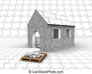 House made out of a puzzle