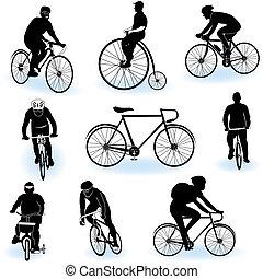 El montar en bicicleta, Siluetas