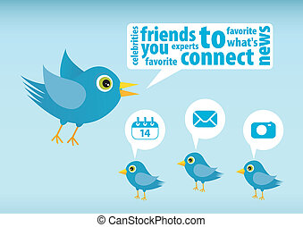 Twitter bird - Illustration of Twitter Bird on white...