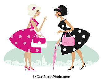 Retro ladies - Vector illustration of two talking stylish...