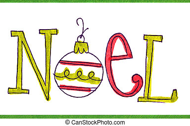 Noel Christmas Message Card - Stamped card with Christmas...