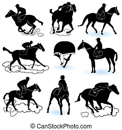 Jockey Silhouettes - Illustration of 8 different jockey...