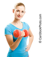 young fitness woman - young caucasian woman doing fitness...