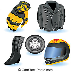 Motorcycle Icons 1 - A collection of 5 different motorcycle...