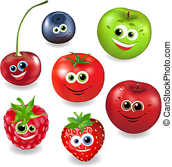 Collection Cartoon Fruit And Berries, Isolated On White...