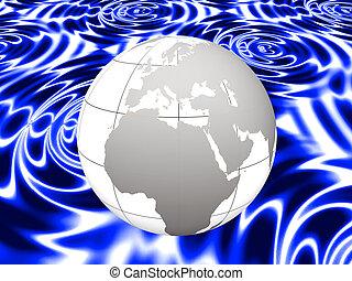 Earth on blue swirls
