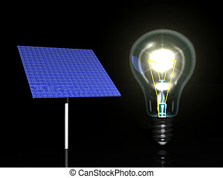 Solar panel and light bulb, black background
