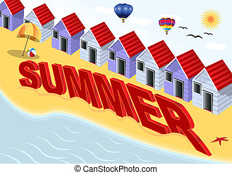 Summer Scene - Illustration of a summer scene, along with...