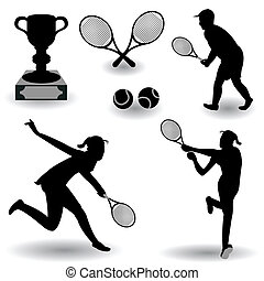 Tennis Silhouettes - A collection of different tennis...