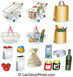 Supermarket icons 1 - A collection of supermarket icons -...