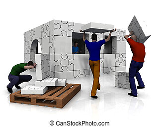 People building a house out of puzzle pieces