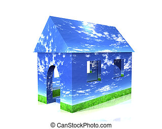 House with sky and grass design