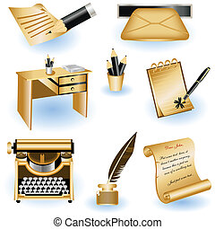 Brown writing icons - A collection of 8 different brown...