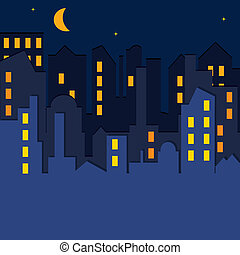 CITYSCAPE. Vector illustration. - CITYSCAPE at the night...