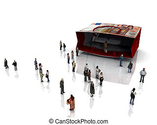 Large shopping bag with many small people