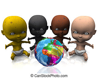 Multiethnic group of babies behind a colorful globe