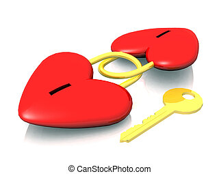 Two linked hearts with one key