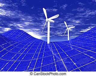 Wind turbines on solar panels