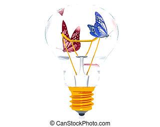 Butterflies in a light bulb