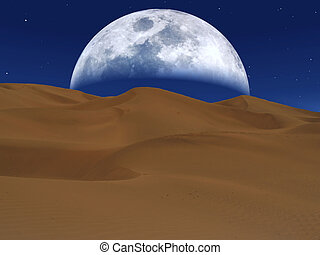 White moon rising over a desert landscape