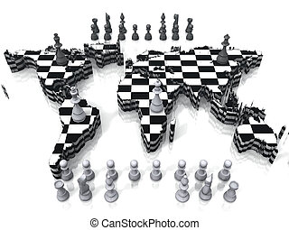 Map as a chessboard with pieces