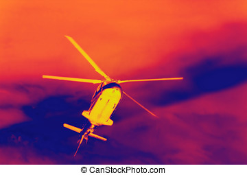 Helicopter Night sky - Infrared thermal camera image of...