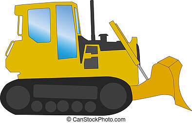 Bulldozer - vector