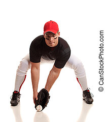 Baseball Player - Baseball player. Studio shot over white.