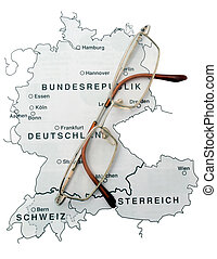 Map and glasses - map of the German speaking population of...