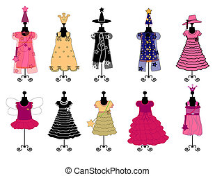 Dresses for girls costumes vector