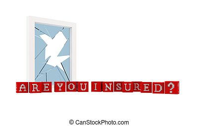 Are you Insured Concept constructed of red boxes with white...