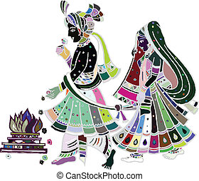 Indian wedding - Traditional indian wedding. Illustration...