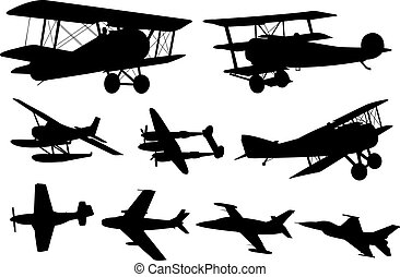 Airplanes silhouettes collection - vector