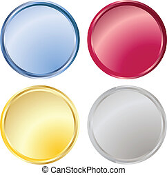 blank metallic buttons