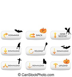 website download buttons with halloween decoration
